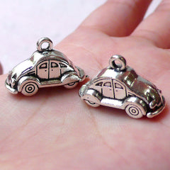 3D Car Toy Charms (2pcs /  24mm x 15mm / Tibetan Silver / 2 Sided) Baby Boy Shower Decor Favor Charm Keychain Zipper Pull Charm CHM1347