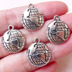 Earth Charms World Globe Charm (4pcs / 16mm x 19mm / Tibetan Silver) Planet Jewellery Bookmark Zipper Pull Keychain Wine Glass Charm CHM1353