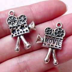 3D Film Camera Charms (2pcs / 16mm x 26mm / Tibetan Silver / 2 Sided) Dollhouse Miniature Hollywood Movie Retro Vintage Necklace CHM1361