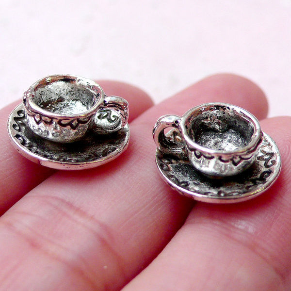 3D Coffee Cup Charms / Tea Cup Pendant (2pcs / 14mm x 7mm / Tibetan Silver) Miniature Sweets Jewelry Dollhouse Cup Kitsch Charm CHM1369