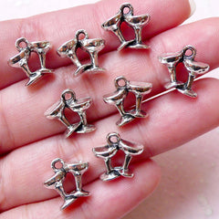 Cheer Wine Glass Charms Wedding Toast Charm 3D Glassware Charm (8pcs / 12mm x 12mm / Tibetan Silver) Whimsical Earrings Bracelet CHM1377