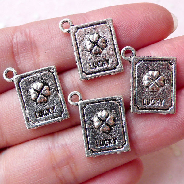 Clover Lucky Book Charms (4pcs / 14mm x 17mm / Tibetan Silver / 2 Sided) Lucky Pendant Necklace Bracelet Bangle Keychain Zipper Pull CHM1383