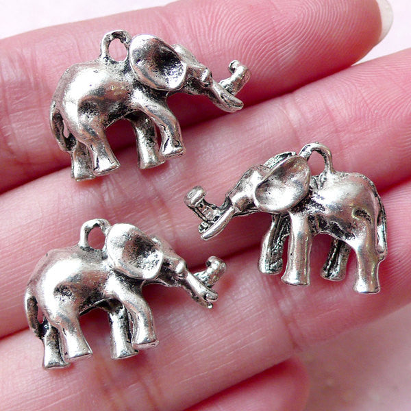 3D Exotic Animal Charm / Elephant Charms (3pcs / 21mm x 14mm / Tibetan Silver / 2 Sided) Pendant Necklace Anklet Keychain Bookmark CHM1387