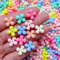 Flower Acrylic Bubblegum Beads Mix (13mm / Assorted Candy Color / 30pcs) Cross Gumball Bead Plastic Pastel Loose Bead Bracelet Necklace F151