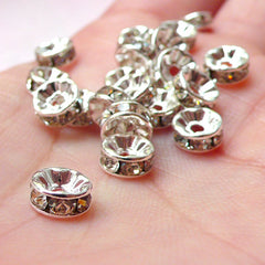 5mm Rhinestone Rondelle Beads / Bling Round Rondell Spacer (20pcs / Silver with Clear Rhinestones) Bracelet Necklace Wedding Jewelry F154