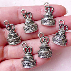 CLEARANCE Wedding Cake Charms Love Charm (6pcs / 13mm x 22mm / Tibetan Silver) Wedding Party Favor Charm Wine Glass Charm Keychain Bookmark CHM1396