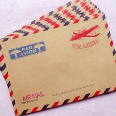 "Airplane Kraft Paper Envelopes (10pcs / Via Aerea) (11cm x 16.2cm / 4.4"" x 6.48"") Vintage Envelope Triangle Flap Party Invitations S248"