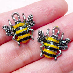 Bee Enamel Charms (2pcs / 17mm x 17mm / Black & Yellow) Insect Jewellery Bracelet Pendant Necklace Bangle Favor Charm Wine Charm CHM1414