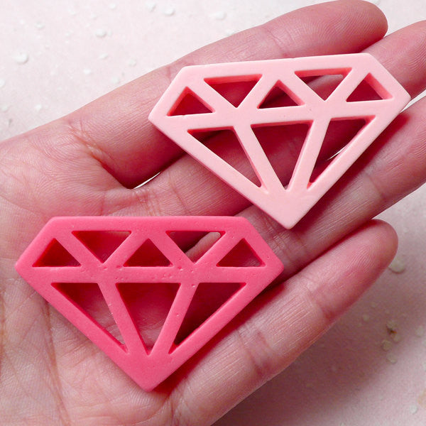 Large Diamond Cabochons (2pcs / Pink / 47mm x 31mm / Flat Back) Kawaii Scrapbooking Cute Decoden Phone Deco Wedding Embellishment CAB370