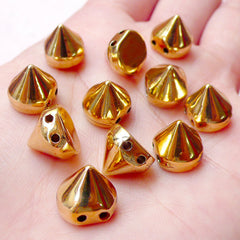 Cone Studs with Holes / Flatback Rivets / Conical Studs (20pcs / Gold / 10mm x 9mm) Spike Beads Spike Charms Sewing Bracelet Decoden RT38