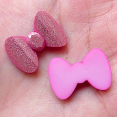 Acrylic Bow Cabochons / Shimmery Bowtie Bow Tie (3pcs / 22mm x 15mm / Pink) Kawaii Embellishment Scrapbooking Earrings Ring Making CAB373