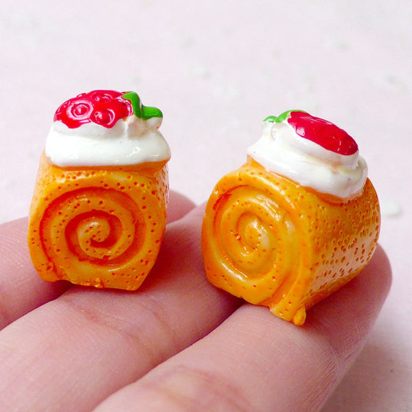 3D Swiss Roll Cabochons (2pcs / 15mm x 20mm / Flat Bottom) Miniature Sweets Dollhouse Food Kawaii iPhone Case Deco Kitsch Jewelry FCAB282