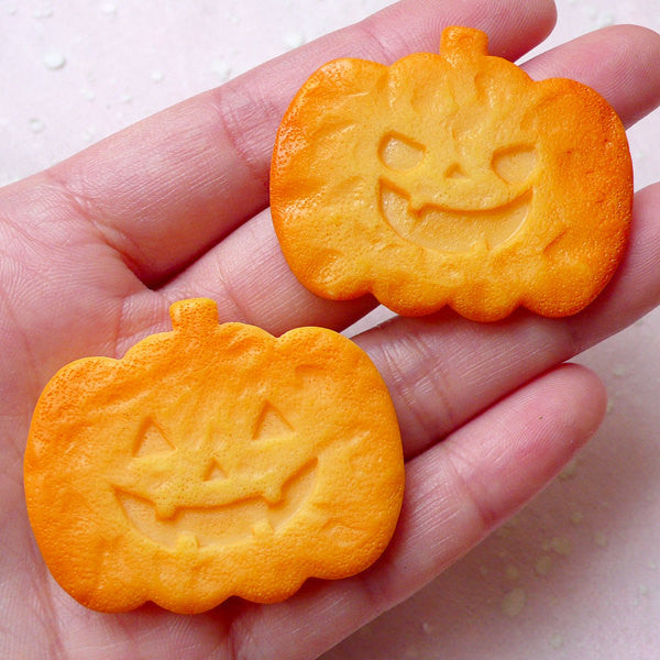 Halloween Pumpkin Cookie Cabochon (2pcs / 42mm x 34mm / Flat Back) Whimsical Sweets Jewelry Kawaii Decoden Party Decor Embellishment FCAB285