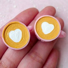 3D Cafe Coffee Cup Cabochons w/ Heart Latte Art (2pcs / 25mm x 17mm / Flat Bottom) Miniature Coffee Kitsch Jewelry Whimsical Decoden FCAB288