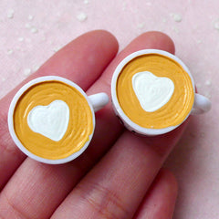 Miniature Coffee Cup Cabochons w/ Heart Latte Art (2pcs / 25mm x 17mm / Flat Bottom) Dollhouse Cup Whimsical Jewellery Kitsch Charm FCAB289