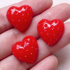 Heart Strawberry Cabochons (3pcs / 18mm x 17mm / Flat Back) Whimsical Scrapbook Kitsch Embellishment Kawaii Fruit Cabochon Decoden FCAB286