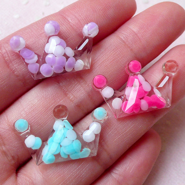 DEFECT Decora Kei Fairy Kei Jewelry / Clear Crown Resin Cabochons w/ Pastel Rhinestones (3pcs / 24mm x 15mm / Flatback) Kawaii Embellishment CAB374