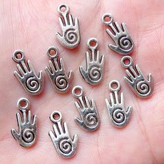Reiki Hand Charms Healing Hand Charm (10pcs / 8mm x 15mm / Tibetan Silver / 2 Sided) Earring Bracelet Pendant Necklace Bangle Anklet CHM1427