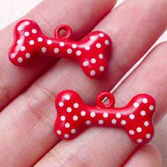 Dog Bone Color Charms Dog Toy Charm (2pcs / 24mm x 12mm / Red & White Polka Dot / 2 Sided) Pet Keychain Necklace Pendant Bracelet CHM1419