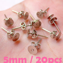 Earring Studs with 5mm Pad / Ear Stud / Earrings Blank / Ear Post (Silver / 20 Sets / 10 Pairs with Ear Nuts or Backs / Nickel Free) F175