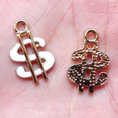 Dollar Sign Enamel Charms (3pcs / 12mm x 20mm / White) Necklace Bracelet Bangle Anklet Earring Keychain Charm Favor Charm Wine Charm CHM1440