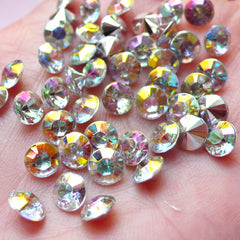 6mm Pointback Acrylic Rhinestones / Tip End Rhinestones (45pcs / SS28 / AB Clear) Bling Bling Faceted Rhinestone Cell Phone Deco RHE087