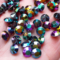 8mm Pointed Back Rhinestones / Tip End Acrylic Rhinestones (30pcs / SS38 / AB Black) Bling Bling Faceted Rhinestone Kawaii Decoden RHE095