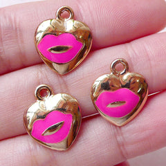Lips Heart Enamel Charms Kiss Charm (3pcs / 14mm x 16mm / Pink) Pendant Necklace Bracelet Earring Bangle Favor Charm Wine Charm CHM1447