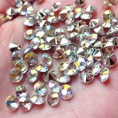 5mm Pointback Rhinestones / Tip End Acrylic Rhinestones (70pcs / SS21 / AB Clear) Bling Bling Faceted Rhinestones Scrapbooking RHE086