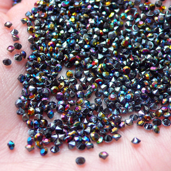 2mm Pointed Back Acrylic Rhinestones / Tip End Rhinestones (200-250pcs / SS5 / AB Black) Bling Bling Faceted Rhinestones Decoden RHE090