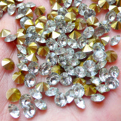 DEFECT 5mm SS19 Resin Rhinestones (Tip End / Pointed Back / Clear / Around 50 pcs) Bling Bling Faceted Cut Round Rhinestones Kawaii Decoden RHE103