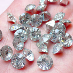 DEFECT 8mm SS37 Resin Rhinestones (Tip End / Pointed Back / Clear / Around 15 pcs) Bling Bling Faceted Cut Round Rhinestones Embellishment RHE104