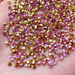 2mm Point Back Rhinestones / SS6 Tip End Resin Rhinestones (Pink / Around 150pcs) Bling Bling Faceted Round Rhinestone Kawaii Decoden RHE105