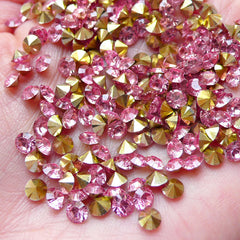4mm Pointed Back Rhinestones / SS15 Tip End Resin Rhinestone (Pink / Around 80pcs) Bling Bling Faceted Round Rhinestone Embellishment RHE107
