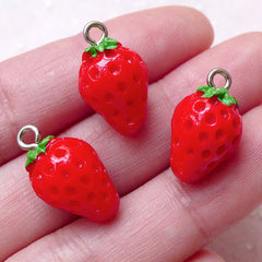 3D Strawberry Charms Fruit Cabochon w/ Eye Pin (3pcs / 11mm x 19mm / Red & Green) Pendant Bracelet Earrings Bangle Cute Favor Charm CHM1456