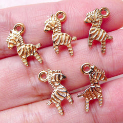 Tiny Zebra Charms Animal Drops (5pcs / 10mm x 14mm / Gold / 2 Sided) Add On Charm Bracelet Bangle Anklet Cute Favor Charm Wine Charm CHM1468