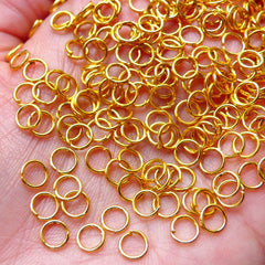 5mm Jump Rings / Open Jumprings (100 pcs / Gold / 21 Gauge / Nickel Free) Charm Connector Bracelet Jewelry Making Jewellery Findings F185