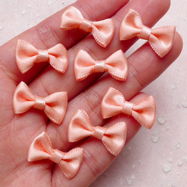Fabric Ribbon Bows / Mini Satin Bow (8pcs / 20mm x 12mm / Sunset) Hair Accessories Jewelry DIY Wedding Party Decoration Packaging B128