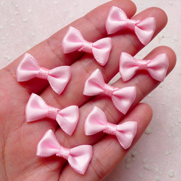 Tiny Satin Ribbon Bow Tie / Little Fabric Bows (8pcs / 20mm x 12mm / Baby Pink) Headband Findings Wedding Favor Decor Sewing B133