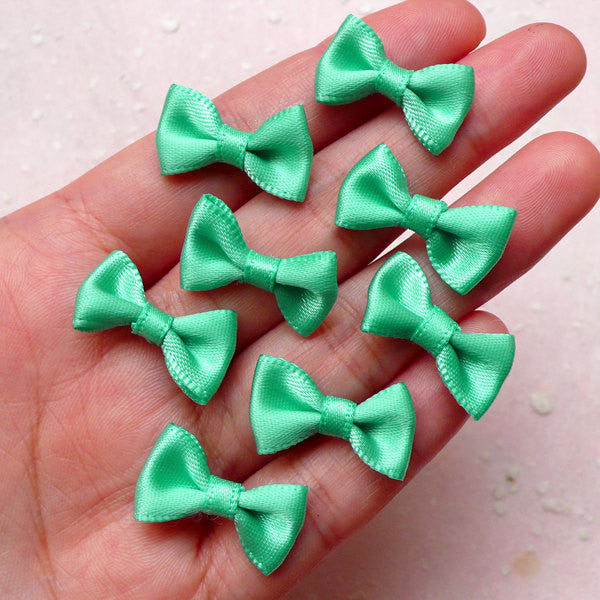 Little Satin Bow / Small Fabric Ribbon Bows (8pcs / 20mm x 12mm / Blue Green) Head Band Jewelry Findings Wedding Party Decor Scrapbook B134