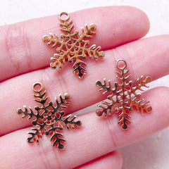 Gold Snowflakes Charms (3pcs / 17mm x 21mm / Gold / 2 Sided) Mini Christmas Ornament Dust Plug Charm Favor Charm Bracelet Earrings CHM1472