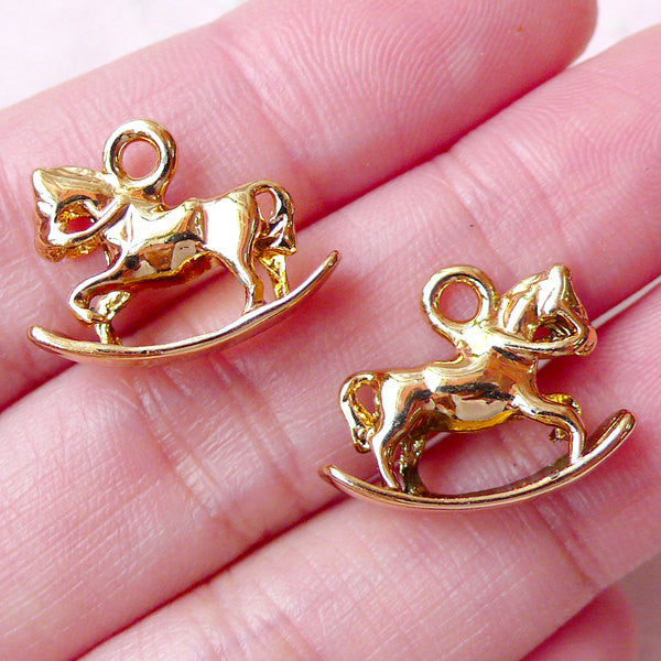 3D Rocking Horse Charms (2pcs / 18mm x 14mm / Gold / 2 Sided) Baby Shower Favor Charm Whimsical Pendant Cute Charm Bracelet Keychain CHM1473
