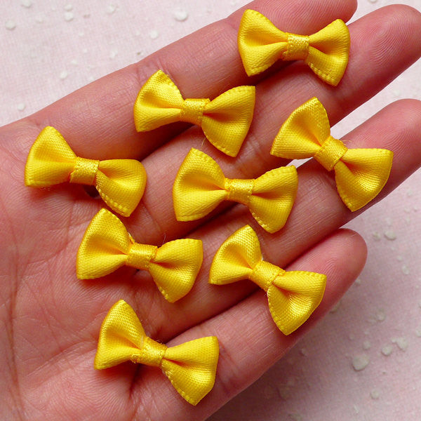 Fabric Bow / Little Satin Ribbon Bows (8pcs / 20mm x 12mm / Yellow) Hair Supply Wedding Party Favor Card Decoration Sewing Packaging B130