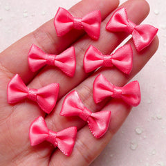 Small Satin Bow Tie / Mini Fabric Ribbon Bow (8pcs / 20mm x 12mm / Watermelon Pink) Hair Clips Jewellery Making Wedding Party Favor Scrapbook B131