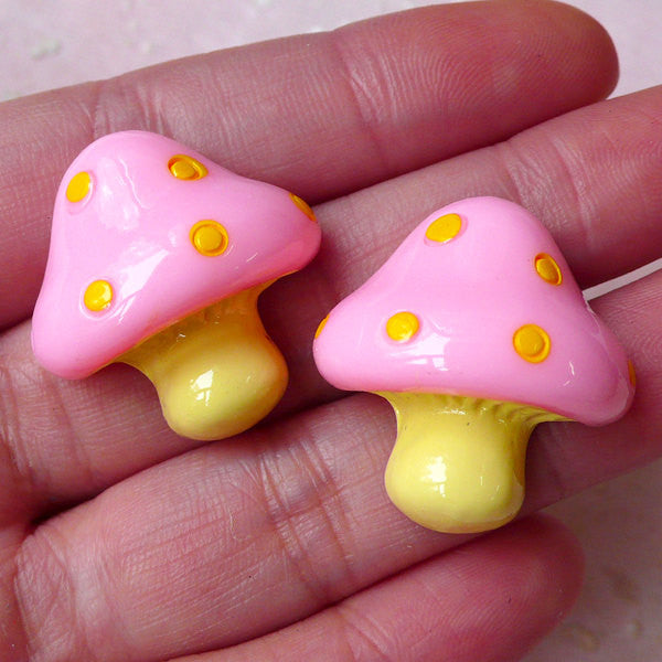 Kawaii Mushroom Cabochons (2pcs / 24mm x 25mm / Pink & Yellow / Flat Back) Cute Decoration Scrapbooking Decoden Whimsical Jewelry CAB378