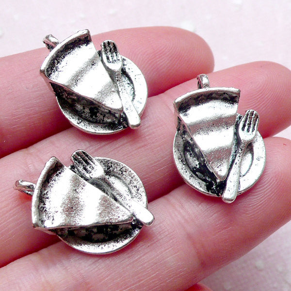 3D Miniature Cake Slice Charms Dollhouse Sweets Charm (3pcs / 14mm x 20mm / Tibetan Silver) Kawaii Decoden Bookmark Keychain Charm CHM1478