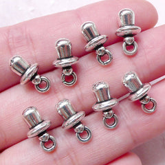 3D Pacifier Charms Baby Dummy Charm (8pcs / 7mm x 13mm / Tibetan Silver) New Born Baby Charm New Mom Gift Baby Shower Favor Charm CHM1481