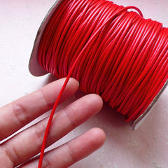 2mm Polyester Waxed Cord / Faux Leather Strap / Round String / Fake Leather Strip (2mm / 3 Meters / Red) Bracelet Necklace Findings A016