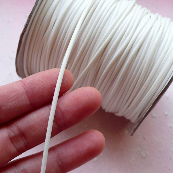 2mm Round Wax Cord / Leather Like Strap / Polyester Strip / Fake Leather String (2mm / 3 Meters / White) Necklace Bracelet Findings A018