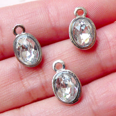 Clear Rhinestone Drop Add On Charms (3pcs / 8mm x 13mm / Tibetan Silver) Keychain Bracelet Bangle Necklace Bookmark Favor Charm CHM1498